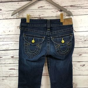 True Religion Jeans - True Religion yellow button boot cut dark blue